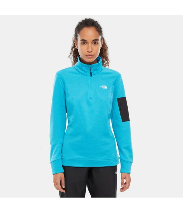 Tnf Pull-Over 1/4 Zippé Impendor Powerdry Meridian Blue Dark Heather Pour Femme