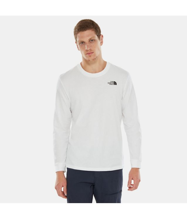 Tnf T-Shirt à Manches Longues Simple Dome Tnf White Pour Homme